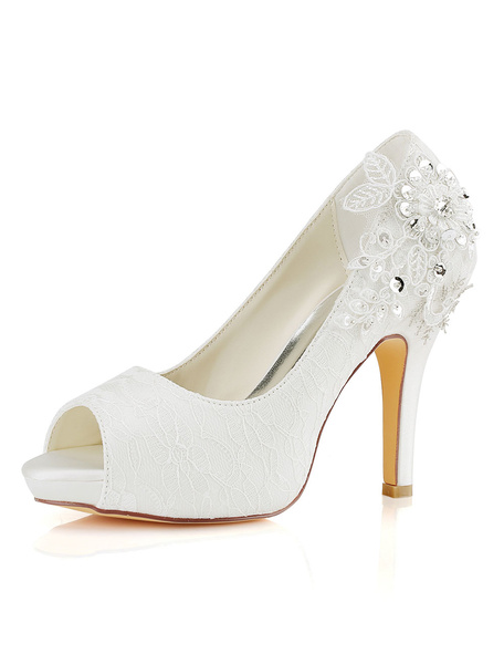 Milanoo Lace Wedding Shoes Ivory Lace Peep Toe High Heel Bridal Shoes