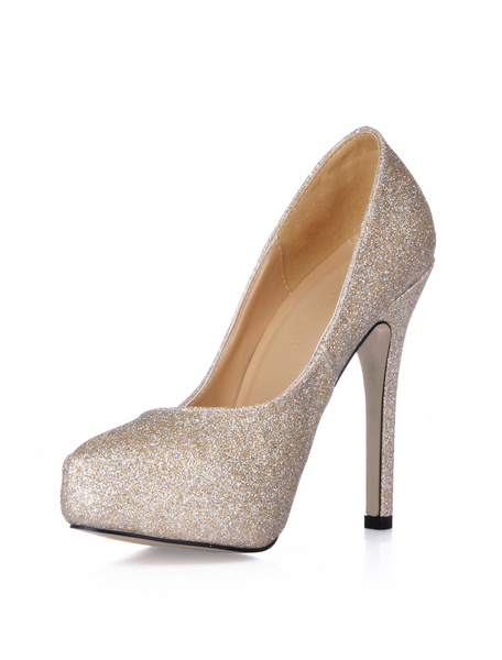 Milanoo Glitter Almond Toe Sequin Cloth Womens  Pumps