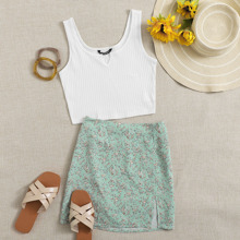 Rib-knit Crop Tank Top & Ditsy Floral Skirt Set