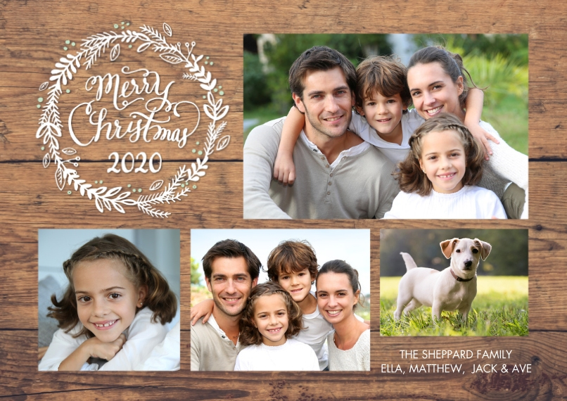 Christmas Photo Cards Flat Glossy Photo Paper Cards with Envelopes, 5x7, Card & Stationery -2020 Christmas Woodgrain Memories by Tumbalina