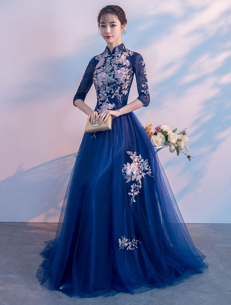 Milanoo Evening Dresses Royal Blue Lace Applique Stand Collar A Line Floor Length Formal Gowns