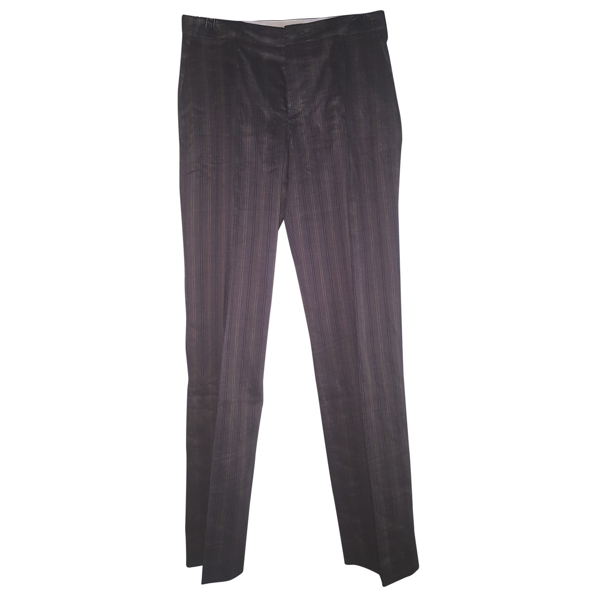 Hache \N Anthracite Linen Trousers for Women 42 IT