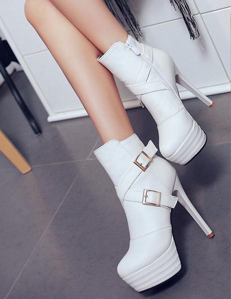 Milanoo Black Ankle Boots High Heel Platform Booties Women's Buckle Zipper Stiletto Short Boots