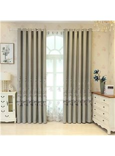Fresh Style Grey Embroidered Floral Decorative Custom Curtain Panels