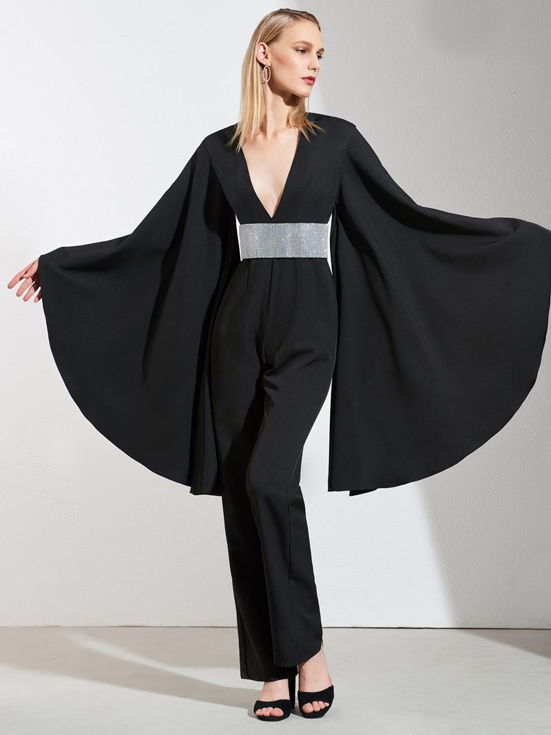 Ericdress Sheath Empire Black Long Sleeve Evening Jumpsuits