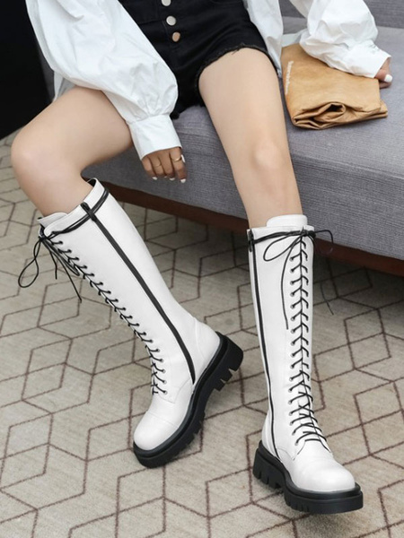 Milanoo Mid Calf Boots For Woman Black PU Leather Round Toe Front Adjustable Strap Women\'s Boots