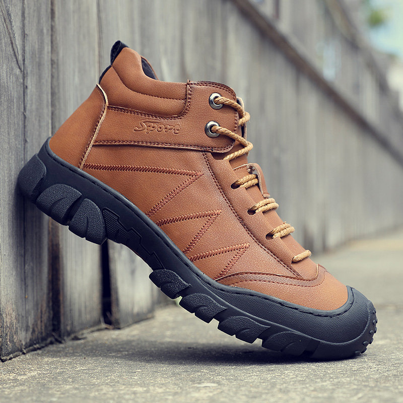 Men Cow Leather Non Slip Plush Lining Anti-collision Outdoor Casual Boots