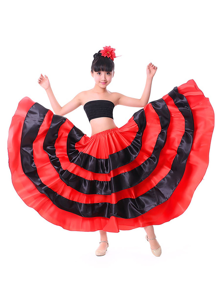 Milanoo Kids Dance Costumes Black Layered Billowing Skirts Flamenco Dress Paso Doble Spanish Skirt for Girls Halloween