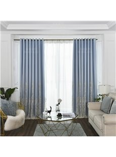 Modern Elegant Style Embroidered Decorative and Blackout Custom Curtain Sets for Living Room Bedroom