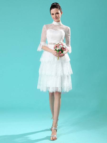Milanoo Ivory A-line High Collar Tiered Beading Lace Bridal Wedding Gown