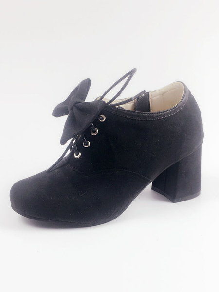 Milanoo Sweet Lolita Shoes Pointed Toe Puppy Heel Lace Up Bows PU Black Lolita Shoes
