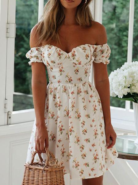 Milanoo Boho Dress Bateau Neck Short Sleeves Floral Print Backless Summer Dresses