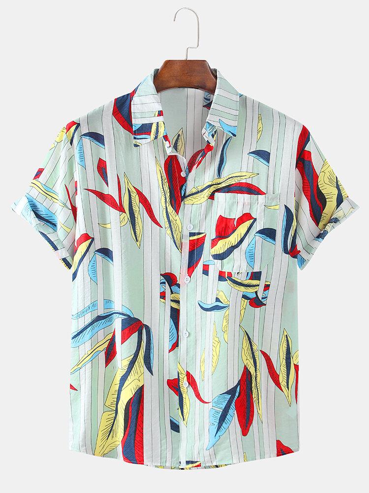 Mens Plain Stripe Leaf Chest Pocket Short Sleeve Shirts