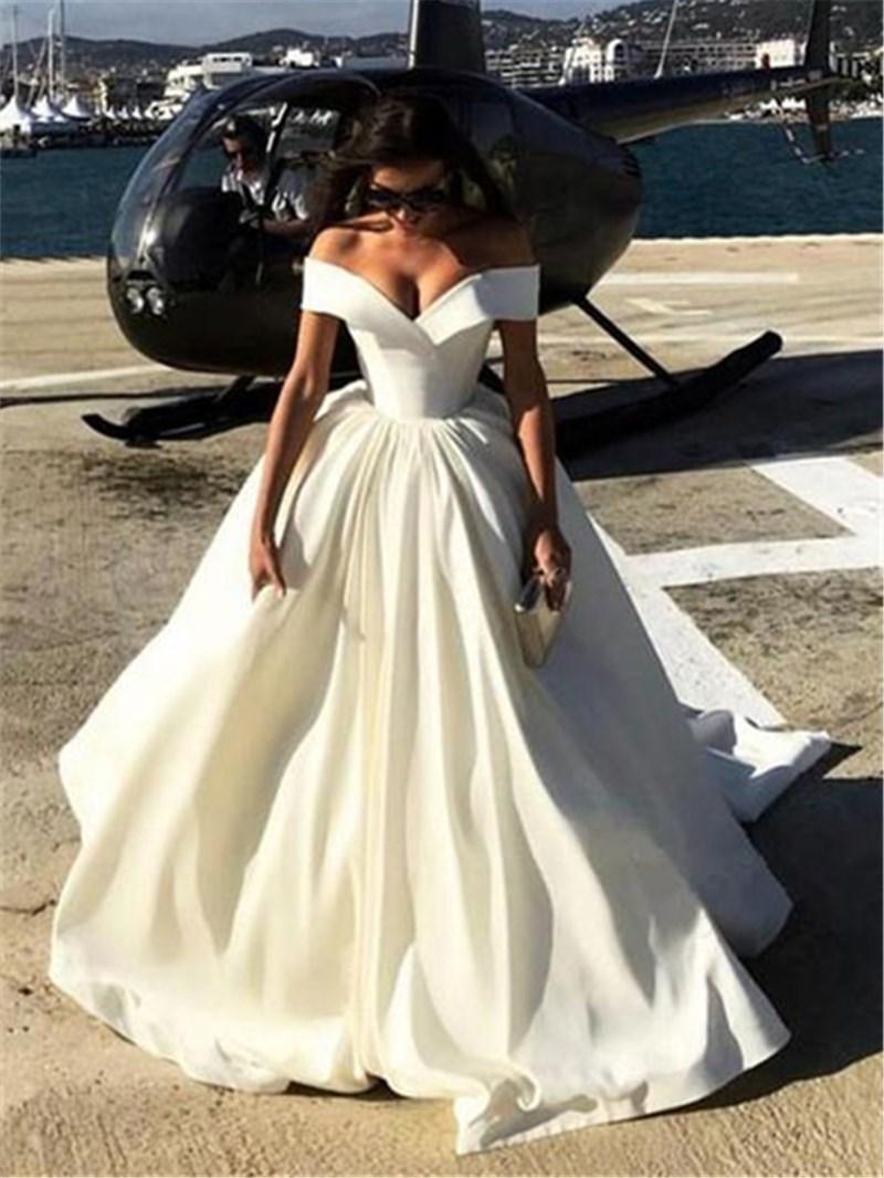 Ericdress Off-The-Shoulder Matte Satin Ball Gown Wedding Dress
