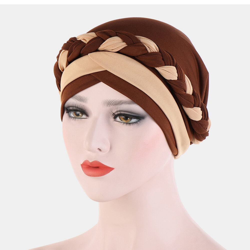 Chiffon Cow Louver Beanie Fold Hat Soft Adjustable Headdress Headscarf
