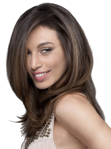 Milanoo Women Wig Straight Layered Side Parting Brown Long Wig