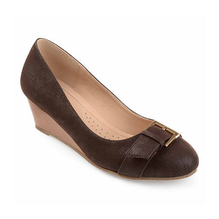 Journee Collection Womens Graysn Pumps Wedge Heel, 6 Medium, Brown
