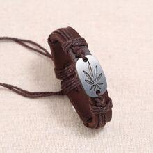 Alloy Maple Leaf Woven Bracelet