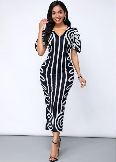 Black Dresses Short Sleeve Geometric Print V Neck Dress - L
