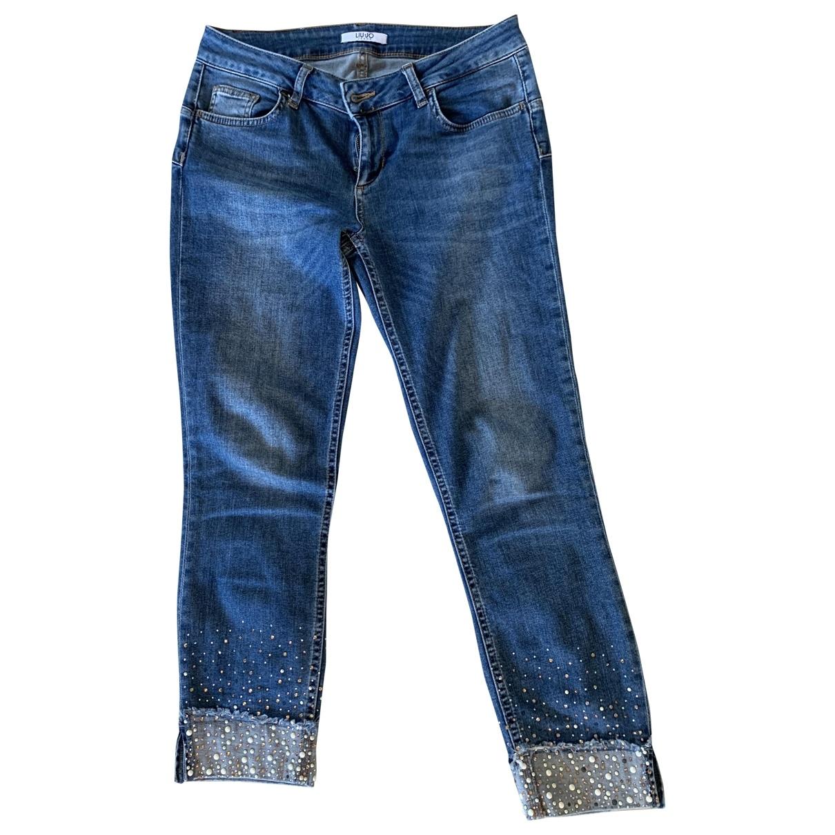 Liu.jo \N Blue Spandex Trousers for Women 38 FR