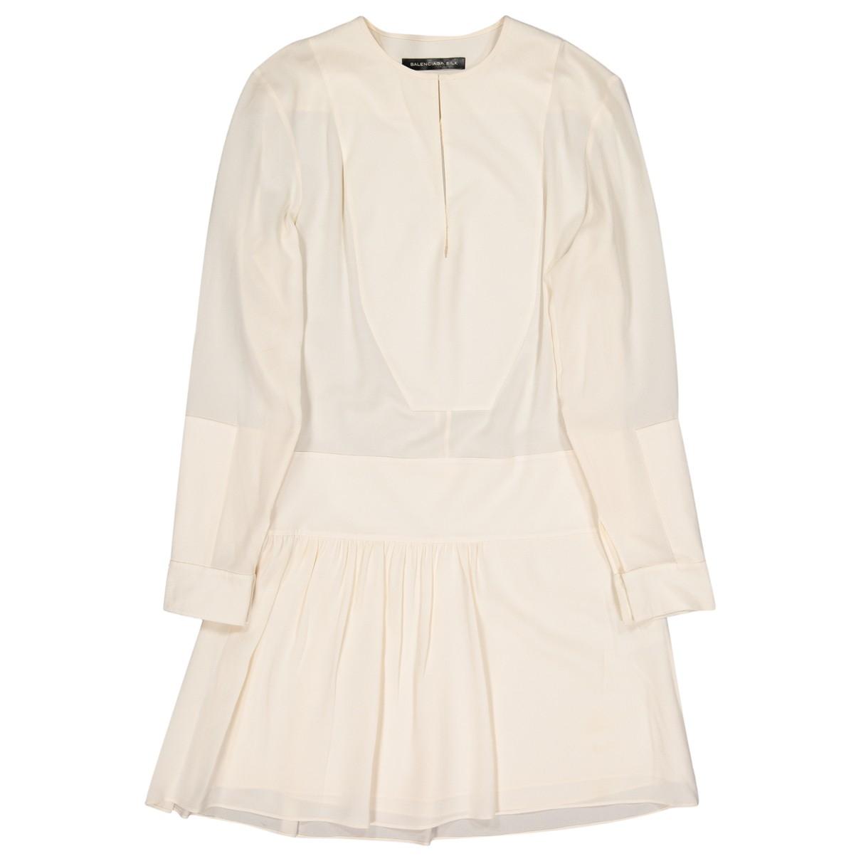 Balenciaga \N Ecru Silk dress for Women 36 FR