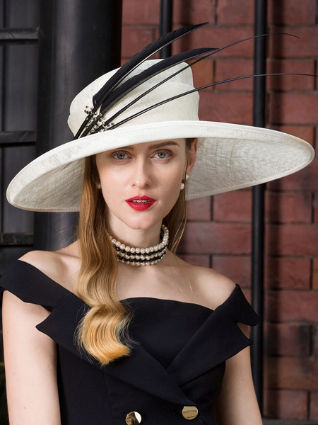 Milanoo White Hat Vintage Feathers Headpieces Royal Cap Hair Accessories Halloween Costume