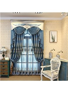 Classic and Noble Thick Organza Embroidered Lake Blue Living Room Sheer Curtain
