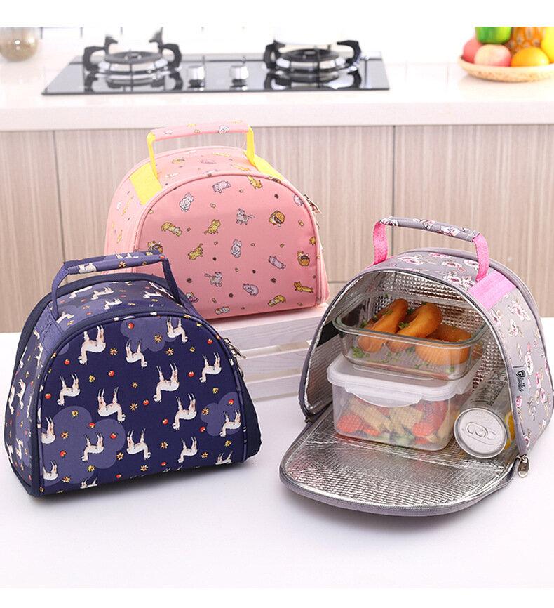 1 Piece Lunch Bag Large Capacity Zipper Closure Floral Print Storage Bag