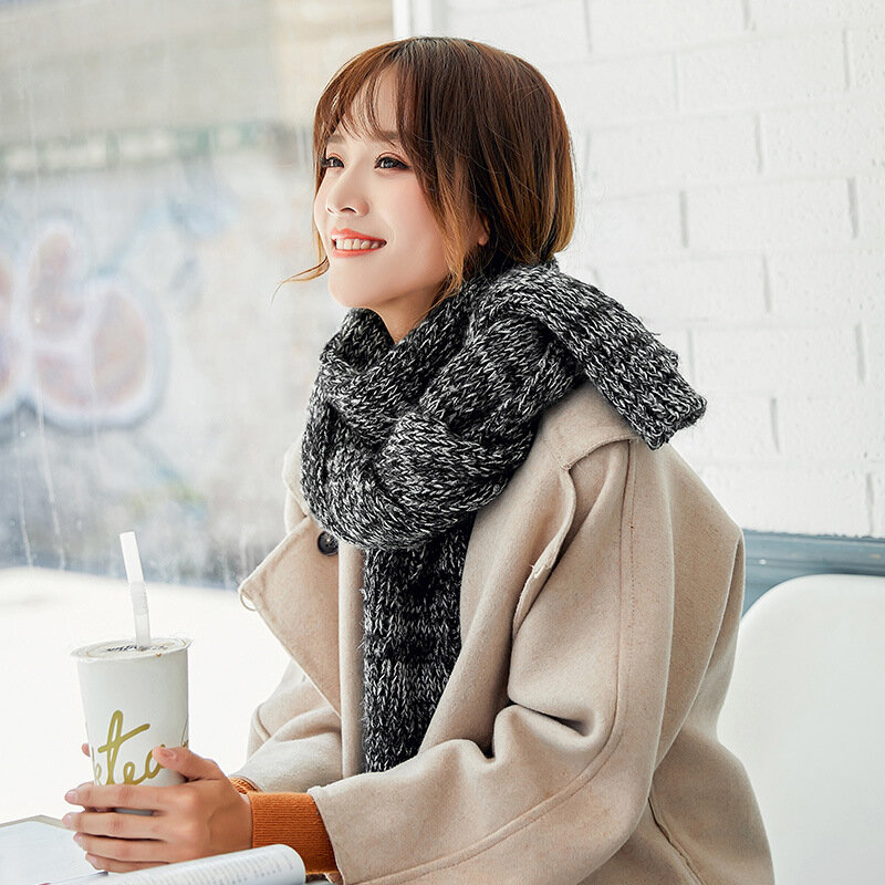 Women Thick Ethnic Style Woolen Knitting Scarf Casual Warm Breathable Sunscreen Scarf