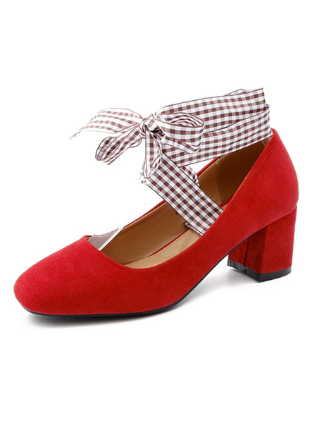 Milanoo Chunky Heel Pumps Red Nubuck Square Toe Plaid Lace Up Shoes For Women