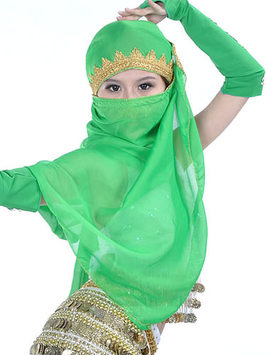 Milanoo Belly Dance Veil Costume Red Chiffon Bollywood Dance Accessory