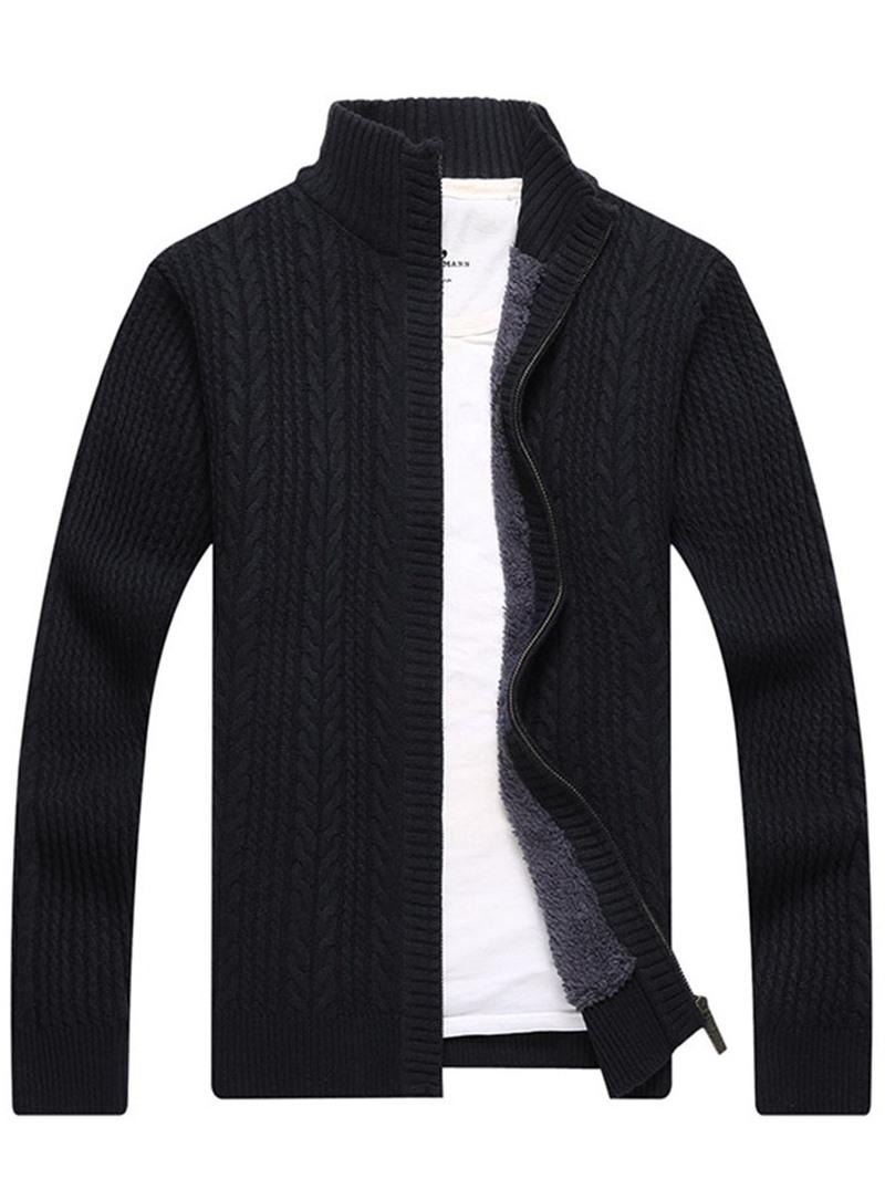 Ericdress Patchwork Stand Collar Standard Zipper Men's Sweater