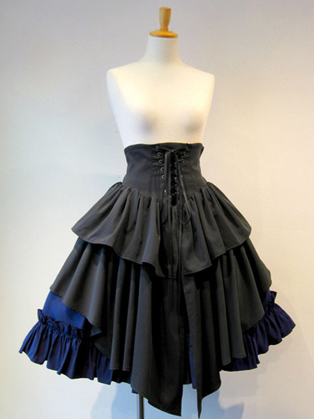 Milanoo Gothic Lolita SK Lace Up Blue Color Block Lolita Skirts