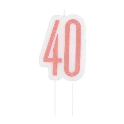 Bougie d'anniversaire Glitz en or rose - 40 ans