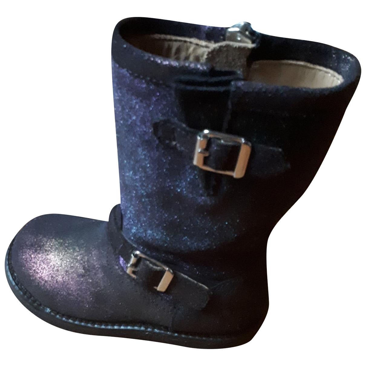 Pom D'api \N Navy Leather Boots for Kids 24 EU