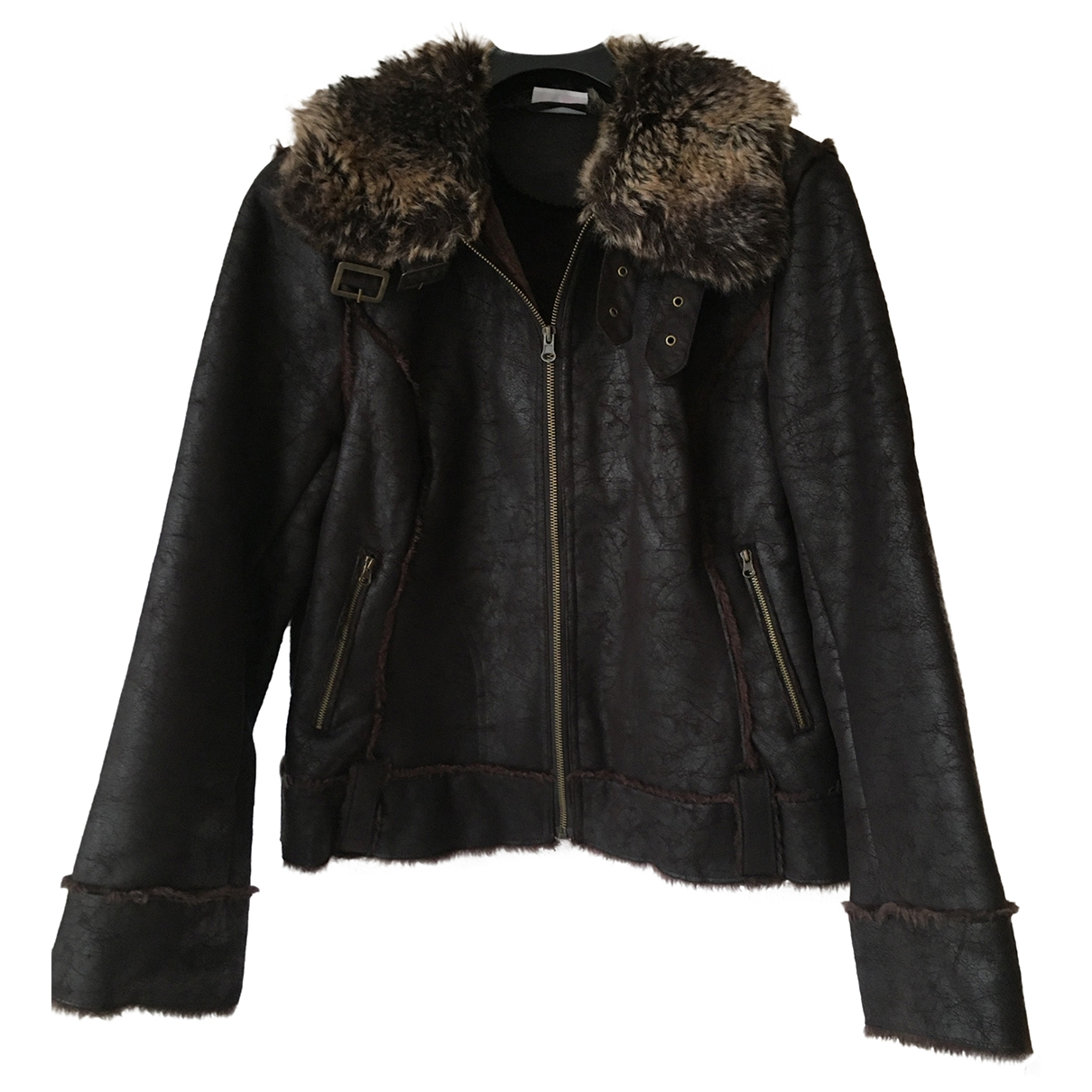 Non Signé / Unsigned \N Brown Faux fur jacket for Women 42 FR