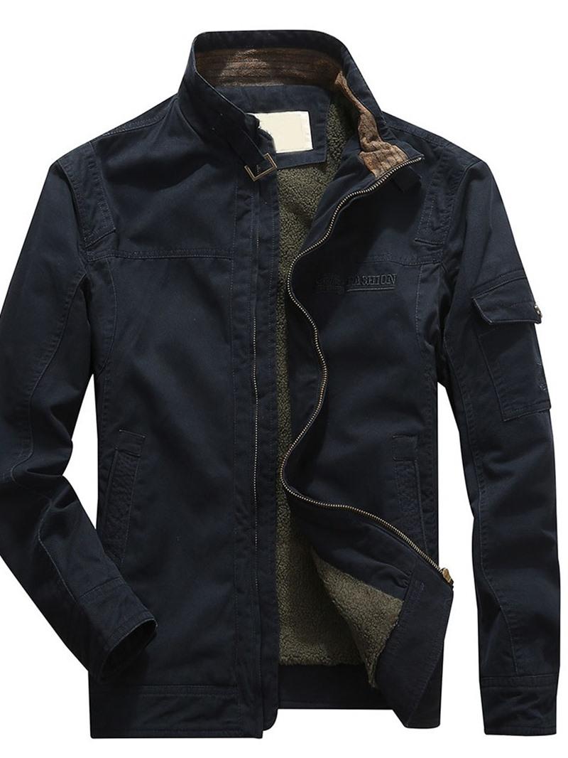 Ericdress Letter Patchwork Thick Zipper Slim Men's Jacket