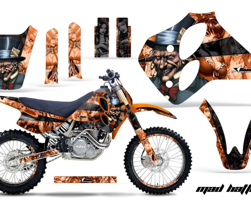 AMR Racing Graphics MX-NP-KTM-C0-93-97-HAT K O Kit Decal Sticker Wrap + # Plates For KTM SX/XC/EXC/LC4 1993-1997áHATTER BLACK ORANGE