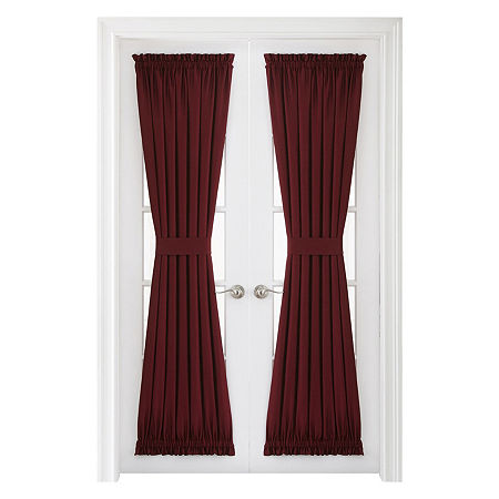 JCPenney Home Supreme Light-Filtering Rod-Pocket Single Door Panel Curtain, One Size , Red