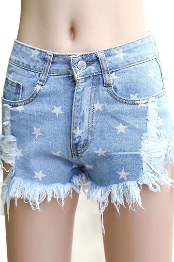Yoins Lightblue Rip Fringe High-Rise Waist Denim Shorts
