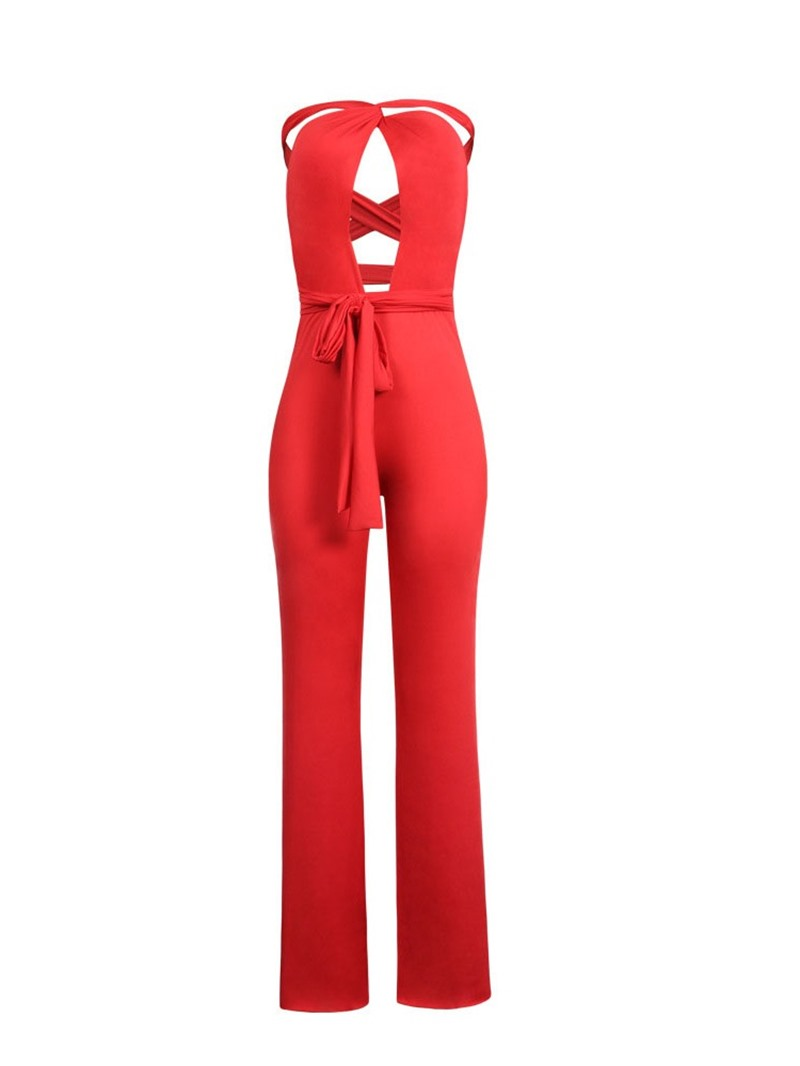 Ericdress Plain Sexy Loose Lace-Up Wide Legs Jumpsuit