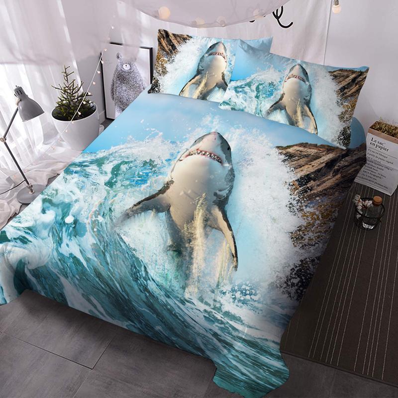 3D Shark Microfiber No-Fading Comforter Set 3Pcs Soft Lightweight Comforter with 2 Pillowcases