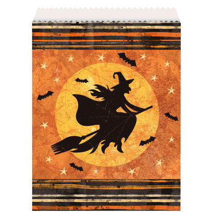 Full Moon Halloween Paper Goodie Bags, 8ct