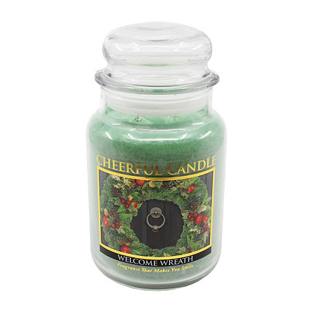 A Cheerful Giver 24oz Welcome Wreath Jar Candle, One Size , Green