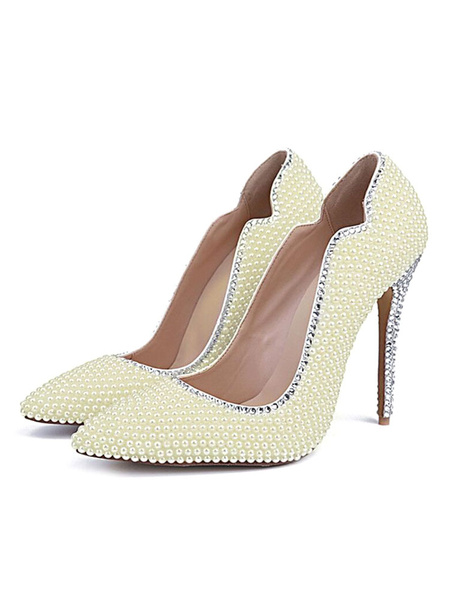Milanoo White Pointed Toe Pumps Pearls Evening & Bridal Heels
