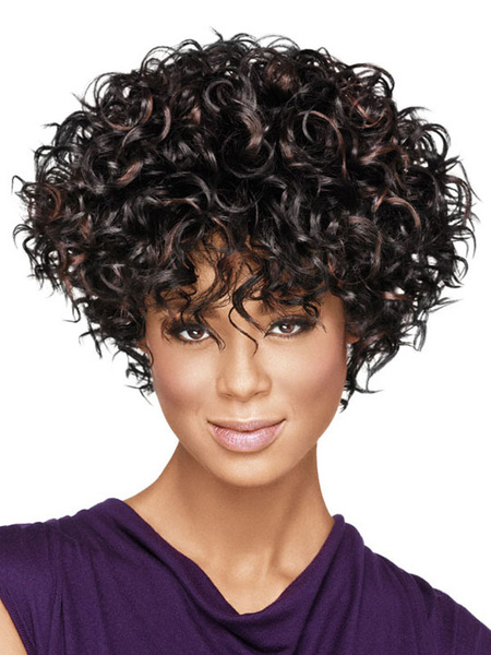 Milanoo Women's Short Wigs African American Deep Brown Curly Tousled Synthetic Afro Hair Wigs With Bangs
