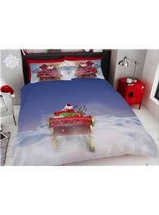 Christmas Elk and Snow Digital Printing Cotton 4-Piece 3D Bedding Sets/Duvet Covers