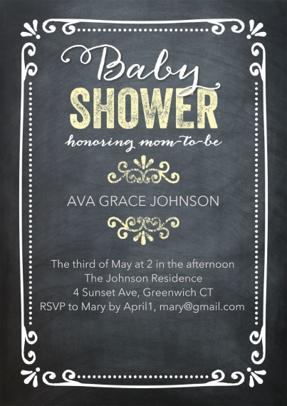 Baby Shower Invitations 5x7 Cards, Premium Cardstock 120lb with Rounded Corners, Card & Stationery -Baby ShowerChalkboard