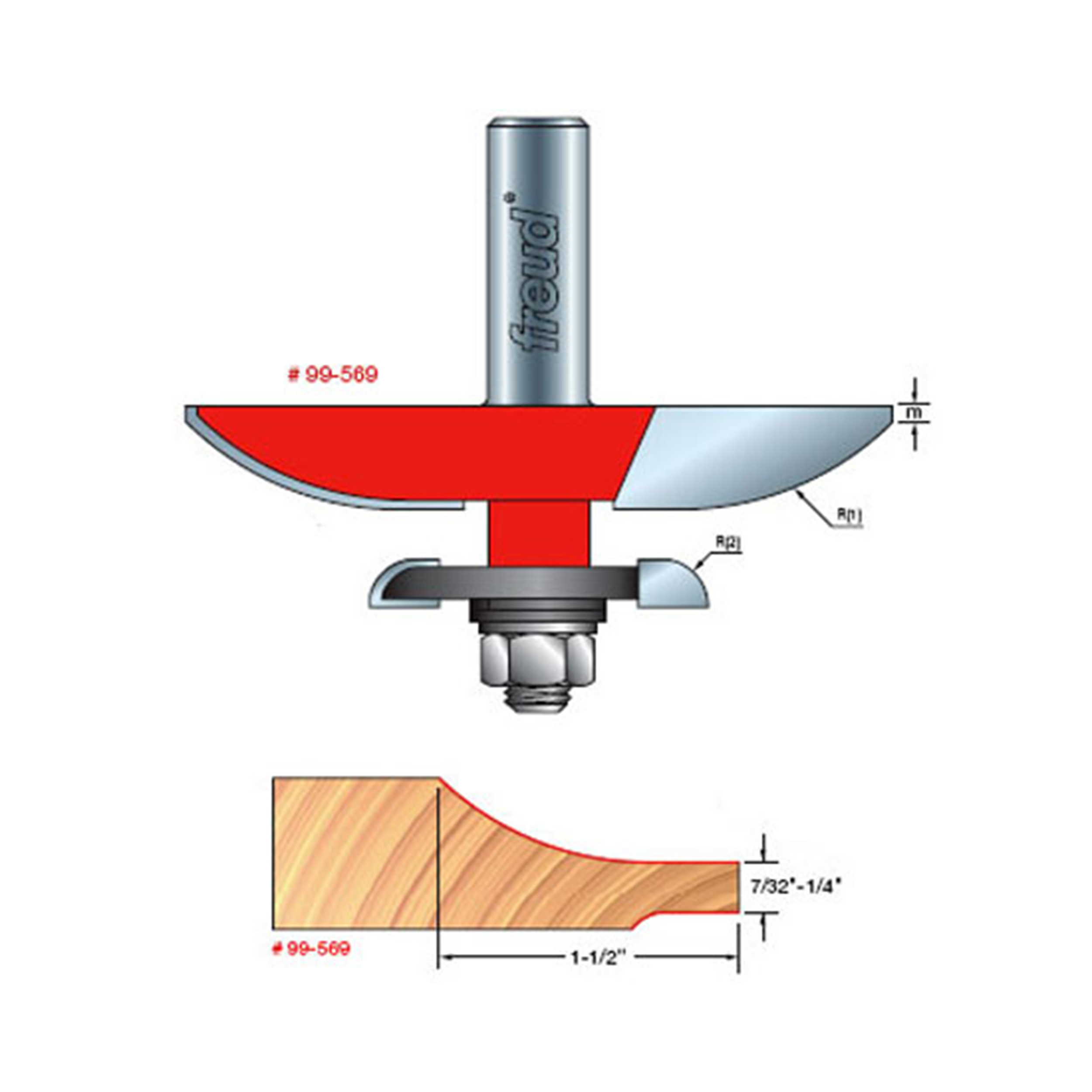 99-569 Quadra-Cut Large Raised Panel with Back-Cutter Router Bit Cove Pattern 1/2 SH