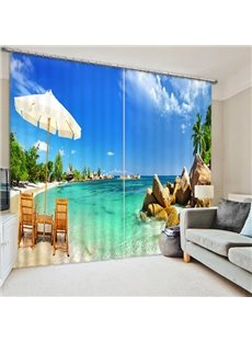 Beautiful Beach Scenery Print 3D Blackout Curtain